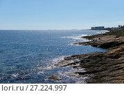 Купить «Rocky coastline of Torrevieja. Province of Alicante. Costa Blanca. Spain», фото № 27224997, снято 20 октября 2017 г. (c) Alexander Tihonovs / Фотобанк Лори