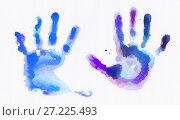 Купить «Watercolor handprints over white background», иллюстрация № 27225493 (c) Alexander Tihonovs / Фотобанк Лори