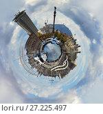 Купить «Little planet 360 degree sphere. Panoramic view of Rambla de Mar in Barcelona city. Spain», фото № 27225497, снято 3 апреля 2016 г. (c) Alexander Tihonovs / Фотобанк Лори
