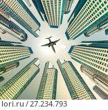 Купить «Plane encircled by buildings», фото № 27234793, снято 16 октября 2018 г. (c) Яков Филимонов / Фотобанк Лори