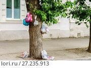 Купить «Россия, Таганрог, мусор, выброшенный на улице жителями города», фото № 27235913, снято 7 июня 2014 г. (c) glokaya_kuzdra / Фотобанк Лори