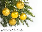 Купить «Christmas decorations, five golden balls hanging on the Christmas tree», фото № 27237125, снято 25 ноября 2017 г. (c) Юлия Бабкина / Фотобанк Лори