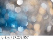 Купить «Abstract bokeh background blue, silver and golden color», фото № 27238857, снято 25 ноября 2017 г. (c) Юлия Бабкина / Фотобанк Лори
