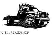 Купить «Cartoon tow truck», иллюстрация № 27239529 (c) Александр Володин / Фотобанк Лори