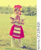 Купить «child in russian folk clothes», фото № 27239825, снято 15 июня 2013 г. (c) Яков Филимонов / Фотобанк Лори
