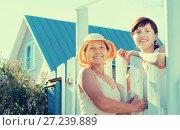 Купить «Two women near fence wicket», фото № 27239889, снято 5 июня 2011 г. (c) Яков Филимонов / Фотобанк Лори