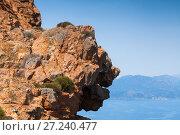 Купить «Face shaped coastal rocks of Corsica island», фото № 27240477, снято 5 июля 2015 г. (c) EugeneSergeev / Фотобанк Лори