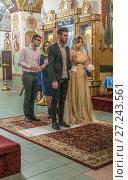 Купить «Венчание в храме великомученика Георгия Победоносца в Грузинах», эксклюзивное фото № 27243561, снято 26 ноября 2017 г. (c) Виктор Тараканов / Фотобанк Лори