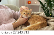 Купить «woman stroking red tabby cat in bed at home», видеоролик № 27243713, снято 23 ноября 2017 г. (c) Syda Productions / Фотобанк Лори