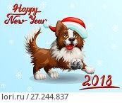 Купить «Праздничная открытка на Новый год. Собака породы Бордер Колли коричневого цвета в шапке Санта-Клауса бежит вперед и надпись Happy New Year на голубом фоне со снежинками. Цветная иллюстрация в мультипликационном стиле», иллюстрация № 27244837 (c) Анастасия Некрасова / Фотобанк Лори
