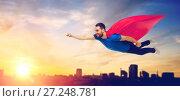 Купить «happy man in red superhero cape flying over city», фото № 27248781, снято 3 декабря 2016 г. (c) Syda Productions / Фотобанк Лори