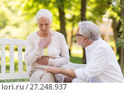 Купить «senior woman feeling sick at summer park», фото № 27248937, снято 16 июля 2017 г. (c) Syda Productions / Фотобанк Лори