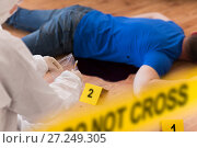 Купить «criminalist collecting evidence at crime scene», фото № 27249305, снято 5 мая 2017 г. (c) Syda Productions / Фотобанк Лори