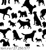 Купить «Seamless pattern with dog silhouettes», иллюстрация № 27250577 (c) Сергей Лаврентьев / Фотобанк Лори