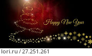 Купить «Happy New Year text and Snowflake Christmas tree pattern shape glowing», фото № 27251261, снято 21 января 2020 г. (c) Wavebreak Media / Фотобанк Лори