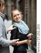 Купить «Male student chasing pleased girl», фото № 27252253, снято 20 марта 2018 г. (c) Яков Филимонов / Фотобанк Лори