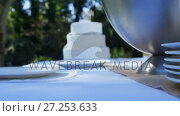 Купить «White wedding cake along with plates 4K 4k», видеоролик № 27253633, снято 22 июля 2018 г. (c) Wavebreak Media / Фотобанк Лори