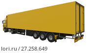 Купить «Large yellow truck with a semitrailer. Template for placing graphics. 3d rendering.», иллюстрация № 27258649 (c) Владимир Хапаев / Фотобанк Лори