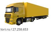 Купить «Large yellow truck with a semitrailer. Template for placing graphics. 3d rendering.», иллюстрация № 27258653 (c) Владимир Хапаев / Фотобанк Лори