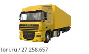Купить «Large yellow truck with a semitrailer. Template for placing graphics. 3d rendering.», иллюстрация № 27258657 (c) Владимир Хапаев / Фотобанк Лори