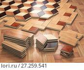 Купить «Stack ofr parquet wooden planks. Few types of wooden parquet coating.», фото № 27259541, снято 8 июля 2020 г. (c) Maksym Yemelyanov / Фотобанк Лори