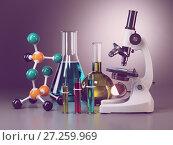 Купить «Microscope with flasks, vials and model of molecule. Chemistry or medical pharmaceutical labratory tools.», фото № 27259969, снято 22 июля 2018 г. (c) Maksym Yemelyanov / Фотобанк Лори
