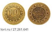 Купить «Монета 100 миллимов. Тунис», фото № 27261641, снято 28 апреля 2016 г. (c) Евгений Ткачёв / Фотобанк Лори