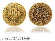 Купить «Монета 100 миллимов. Тунис», фото № 27261649, снято 28 апреля 2016 г. (c) Евгений Ткачёв / Фотобанк Лори