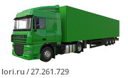 Купить «Large green truck with a semitrailer. Template for placing graphics. 3d rendering.», иллюстрация № 27261729 (c) Владимир Хапаев / Фотобанк Лори