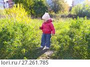 Купить «Cute 1 years girl walking in autumn outdoors», фото № 27261785, снято 11 октября 2017 г. (c) ivolodina / Фотобанк Лори