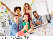 Купить «happy team taking selfie at office party», фото № 27268789, снято 3 сентября 2017 г. (c) Syda Productions / Фотобанк Лори