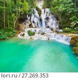 Купить «Tat Kuang Si Waterfalls. Beautiful landscape. Laos.», фото № 27269353, снято 7 ноября 2017 г. (c) Ольга Хорошунова / Фотобанк Лори
