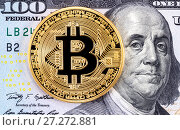Купить «Golden bitcoin lying on the banknote of one hundred american dollar. Business concept of worldwide cryptocurrency», фото № 27272881, снято 30 ноября 2017 г. (c) FotograFF / Фотобанк Лори