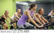 Купить «Athletic young girls during workout on stationary bicycle in fitness gym», видеоролик № 27275489, снято 28 июля 2017 г. (c) Яков Филимонов / Фотобанк Лори