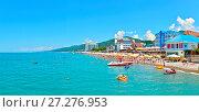 Купить «Панорама курорта Лазаревское, город Сочи. Вид с моря», фото № 27276953, снято 12 июля 2020 г. (c) Игорь Архипов / Фотобанк Лори