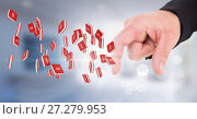 Купить «Hand touching section symbol icons», фото № 27279953, снято 27 января 2020 г. (c) Wavebreak Media / Фотобанк Лори