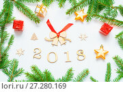 Купить «New Year 2018 background with 2018 figures,Christmas toys, fir branches-New Year 2018 composition», фото № 27280169, снято 30 ноября 2016 г. (c) Зезелина Марина / Фотобанк Лори