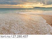 Купить «a sea wave on the sandy beach of Ao Nang in Thailand, a beautiful landscape at sunset», фото № 27280437, снято 9 ноября 2016 г. (c) Константин Лабунский / Фотобанк Лори