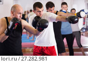 Купить «Portrait of men training at sparring together», фото № 27282981, снято 5 мая 2017 г. (c) Яков Филимонов / Фотобанк Лори