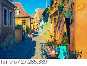 Купить «Image of streets of Sighisoara», фото № 27285389, снято 16 сентября 2017 г. (c) Яков Филимонов / Фотобанк Лори