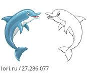 Купить «Милый и веселый выпрыгивающий дельфин, цветной и контурный варианты изолированно на белом фоне. Иллюстрация в мультипликационном стиле, раскраска», иллюстрация № 27286077 (c) Анастасия Некрасова / Фотобанк Лори