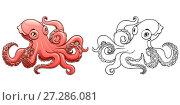 Купить «Розовый милый осьминог в цветном и контурном варианте изолированно на белом фоне. Морское животное, головоногий моллюск. Иллюстрация в мультипликационном силе, раскраска», иллюстрация № 27286081 (c) Анастасия Некрасова / Фотобанк Лори
