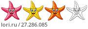 Купить «Набор из морских звезд розового, желтого и оранжевого цвета и черного контура изолированно на белом фоне. Иллюстрация в мультипликационном стиле, раскраска», иллюстрация № 27286085 (c) Анастасия Некрасова / Фотобанк Лори