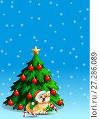 Купить «Голубой Новогодний фон со снежинками, наряженной елкой и рыже-желтой собакой породы вельш корги в шапке санта клауса. Иллюстрация в мультипликационном стиле», иллюстрация № 27286089 (c) Анастасия Некрасова / Фотобанк Лори