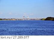 Купить «Астрахань. Автомобильный и железнодорожный мосты через Волгу», фото № 27289077, снято 1 августа 2017 г. (c) Светлана Колобова / Фотобанк Лори