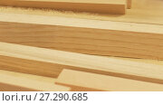 Купить «wooden boards at workshop or woodworking plant», видеоролик № 27290685, снято 17 ноября 2017 г. (c) Syda Productions / Фотобанк Лори