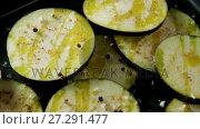 Купить «Slices of eggplant flavored with spices 4k», видеоролик № 27291477, снято 10 апреля 2020 г. (c) Wavebreak Media / Фотобанк Лори