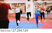 Купить «Women are doing self-defence moves in pairs in sporty gym.», видеоролик № 27294129, снято 22 октября 2017 г. (c) Яков Филимонов / Фотобанк Лори