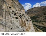 Купить «Vardzia, Georgia. Beautiful view of the caves and monastery on the mountain», фото № 27294237, снято 23 сентября 2017 г. (c) Яна Королёва / Фотобанк Лори