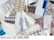 Купить «packs of different pills and medicine», фото № 27296089, снято 27 сентября 2017 г. (c) Syda Productions / Фотобанк Лори